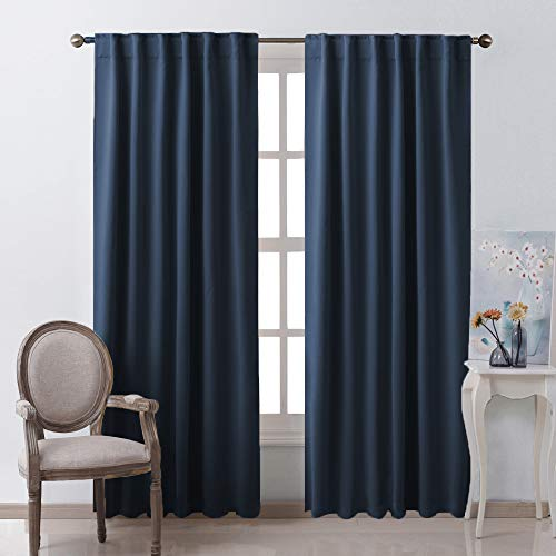 NICETOWN Vertical Blinds Window Curtain Panels - (Navy Color) 52 by 84 inches, Set of 2 Panels, Energy Saving Blackout Curtains for Hall Room