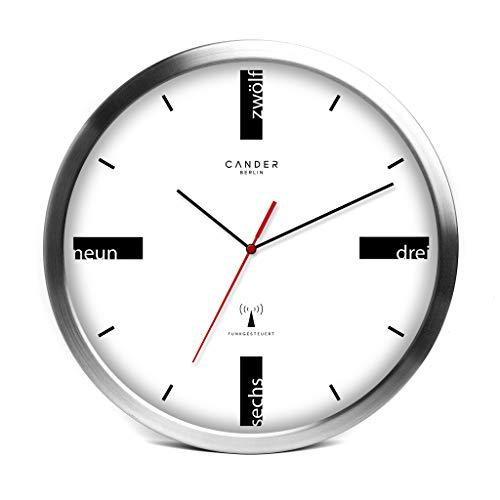 Cander Berlin MNU 3130 Weiße Funkwanduhr aus Aluminium mit lautlosem Uhrwerk (Ø) 30,5 cm