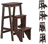Paso 3 Taburete Plegable de Madera Escalera for sillas de Las heces y Estante de Almacenamiento, de múltiples Funciones de Madera de Goma Plegable Escalera for el hogar, Biblioteca
