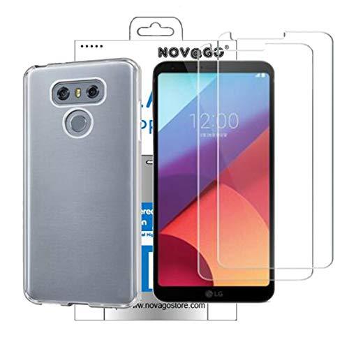 NOVAGO Compatible avec LG G6 (Pack 2 en 1) Coque Souple Transparente et résistante Anti Choc +2 Films Protection écran en Verre trempé 9H
