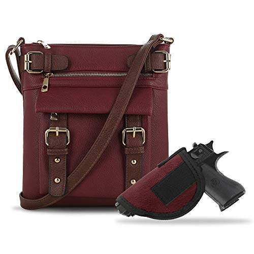 Jessie & James 2 Toned Belt Concealed Carry Crossbody Bag Gunbag Shoulder Purses For Women with Lock and Key | Wine