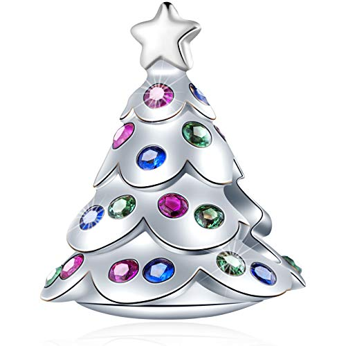 GEMDAZZ Christmas Tree Charms with Star fit Pandora Charm Xmas Bracelet, 925 Sterling Silver Winter Christmas Ornaments Beads with Colorful CZ, Gift for Birthday/Friends/New Year/Family