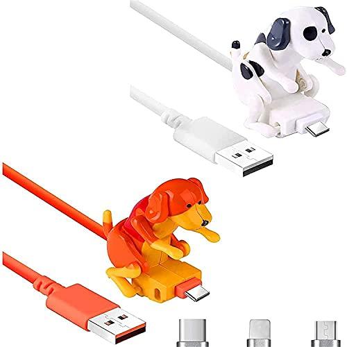 Ysang Streuner - Cavo di ricarica per cani, con cavo USB, mini buckel spot, giocattolo per cani, per diversi modelli di telefoni cellulari di tipo C, portatile (Android 2PCS, bianco)