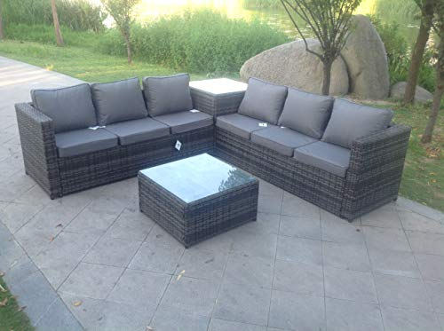 Fimous 6 Seater Grey Rattan Corner Sofa Set 2 Tables Garden Furniture Outdoor