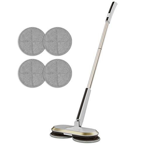 GOBOT Vadrouille électrique sans fil avec poignée réglable et 4 tampons en microfibre de rechange, batterie rechargeable épurateur de sol vadrouille sans