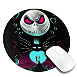 Funny Round Mouse Mat, Happy Jack Skellington Face Love Sally Heart Poster Thick Gaming Mouse Pad with Non-Slip Rubber Base, Washable Home Laptops Keyboard Pad, 7.9 X 7.9 Inch