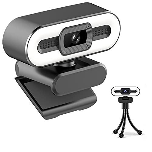Webcam A10 2K/4K Full HD/QHD/UHD Webcam con micrófono, cámara web para ordenador portátil y trípode