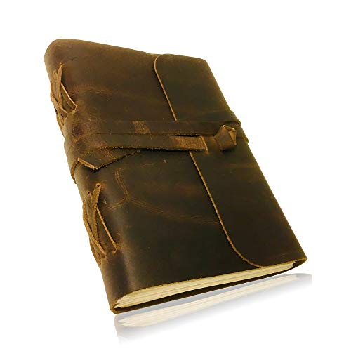 """HANDMADE LEATHER JOURNAL for Men & Women   Cotton drawstring bag   Pen holder   Unlined Thick Paper   Best for Travel Diary & Journals to Write in (8""""x6"""")"""