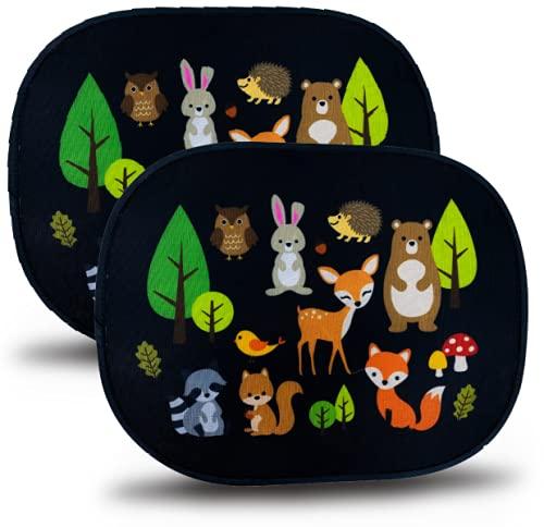 HECKBO Parasol Autoadhesivo para Coche - protección Solar para niños (2 Piezas) | Los animales del bosque | 44x36cm | protección solar para ventanillas de coche | con Bolsa Incl