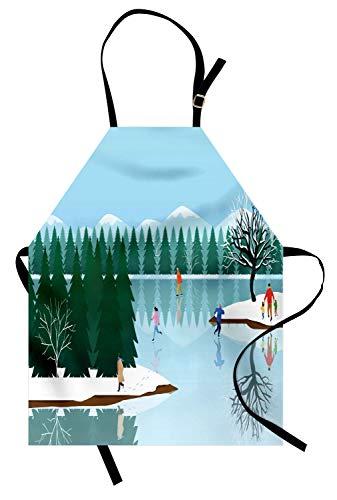 ABAKUHAUS Winter Keukenschort, Schaatsen Frozen Lake Art, Unisex Keukenschort met Verstelbare Nekband voor Koken en Tuinieren, Veelkleurig