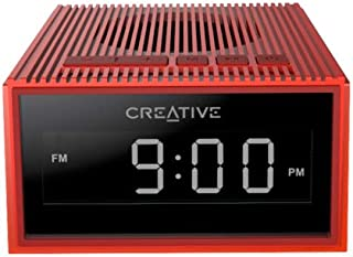 Creative 51MF8280AA003 Chrono Portable Splash-Proof Bluetooth Speaker with FM Radio, Alarm Clock, Micro Sd Slot - Red (Pack of 1)