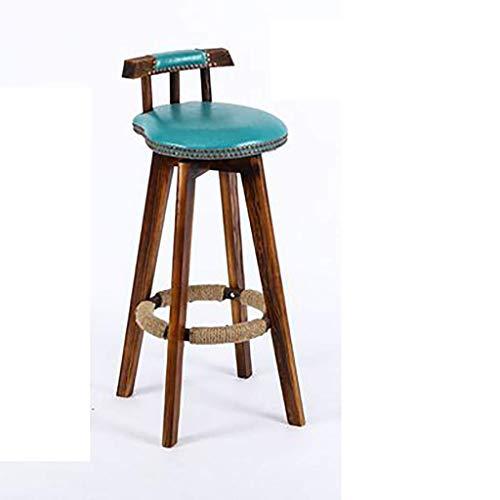 Taburetes de Bar de Cuero de PU sólido Creativo Retro Americano Silla de Pub de Cocina de Desayuno con Patas Taburetes de Bar de 73X38X33CM (Color: R)