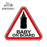 JYIP 13 cm x 11,6 cm Cartel de bebé a Bordo con biberón Pegatinas de Coche Etiqueta de casillero de Parachoques de Coche Divertido Etiqueta a Prueba de arañazos