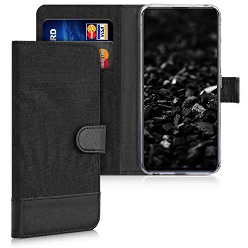 kwmobile Wallet Hülle kompatibel mit Motorola One Macro - Hülle Kunstleder mit Kartenfächern Stand in Anthrazit Schwarz