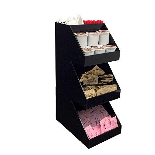 Mind Reader Acrylic 3-Tier Coffee  Tea Condiment Organizer Black
