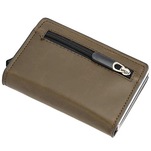 Kreditkortshållare, stor kapacitets kortsäck aluminiumlegering + PU läder för praktisk present till butik ID-kort bankkort, etc.(Crazy Horse Brown, x-52#)