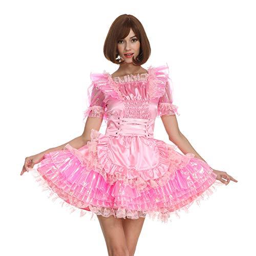 GOceBaby Frauen Sissy Maid Schimmernd Rosa Satin Gürtel Slim Fit Abschließbar Kleid Crossdress (L)