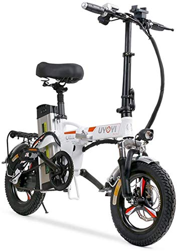 Bici elettrica, Bici elettrica pieghevole per adulti, 14 'in lega leggera pieghevole città bicicletta elettrica / per il pendolarismo con motore 400W, freni a doppio disco, bici eco-compatibile per ur