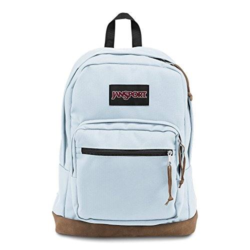 JanSport Right Pack Backpack - School, Travel, Work, or Laptop Bookbag with Leather Bottom, Palest Blue