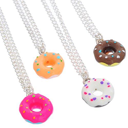 MJARTORIA Damen Mädchen Freundschaftsketten Donut Halskette Beste Freundinnen für Immer Essen Schmuck (16/4 Stück) (Bunt)