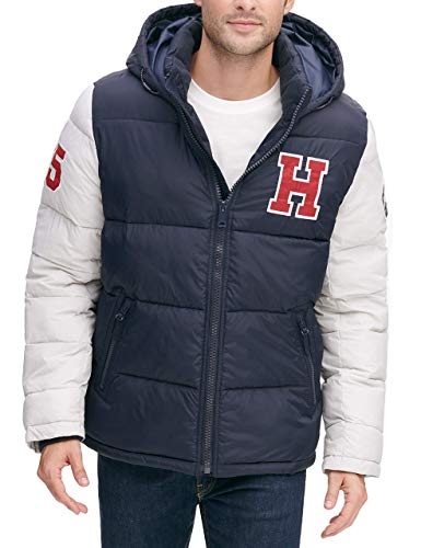 Tommy Hilfiger Men's Classic Hooded Puffer Jacket (Standard and Big & Tall), Deep Navy, X-Large