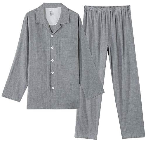 パジャマ メンズ 綿100 二重 ガーゼ 長袖 ルームウェア 上下セット 吸汗 通気 肌に優しい 部屋着 チェック柄/無地 春・夏・秋・冬用 敏感肌 脇に縫い目のない