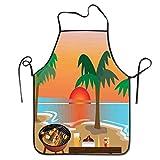 IUBBKI Delantal de Fiesta Tropical al Atardecer, Delantal de Babero Divertido para Hombres y Mujeres, Delantal de Cocina para Hornear y cocinar
