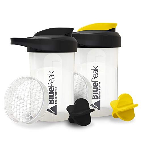 BluePeak Protein Shaker Bottle 20Ounce 2Pack with Dual Mixing Technology BPA Free Shaker Balls amp Mixing Grids Included BlackYellow