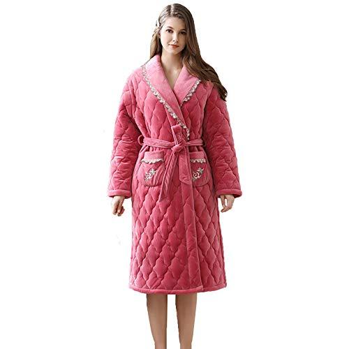 Pijamas de Otoño e Invierno para Mujer Cárdigan Cálido Acolchado Grueso Bata de Baño De Longitud Media Servicio a Domicilio de Manga Larga Simple (Size : XX-Large)