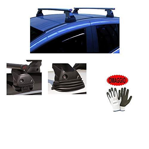 Compatible con Peugeot 207 3P 2017 (68004) Barras portaequipajes para techo de coche con enganche directo de barra de 110 cm de acero techo sin realing + kit de montaje