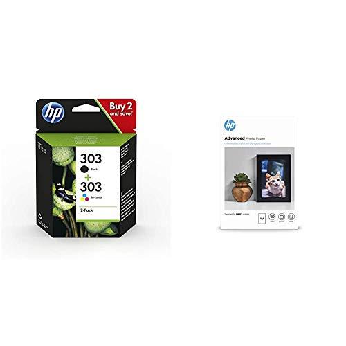 HP 303 Multipack Original Druckerpatronen für HP Envy Photo 6230, 7130, 7830, Schwarz, Cyan, Magenta, Gelb, Standard & Q8692A Advanced Glossy Fotopapier 250g/m² 10x15cm 100 Blatt, weiß