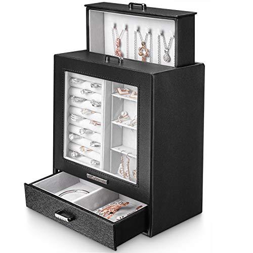 Seelux Caja de joyería 3 cajones Caja para Joyas, con ventana de vidrio, para Pendientes, Pulseras, Anillos, Almacenamiento y Expositor, Relojes, Collares, negro