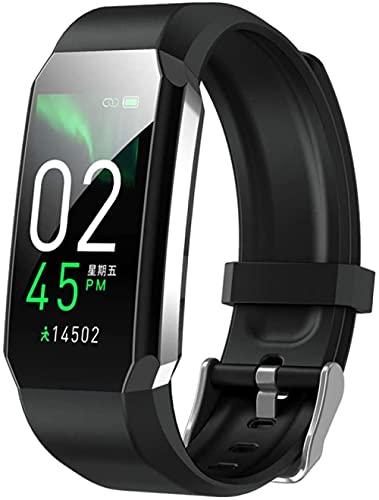 smart watch smart horloge armband lichaam thermometer bloeddruk fitness armband waterdichte sport smart band horloges voor mannen vrouwen-zwart