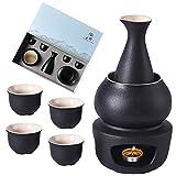 7 Piezas Sake Set, Juego de Tazas de Sake Japones, Tradicional Cerámica Hecha a Mano, Gift Box Packaging, 1 Estufa, 1 Cuenco de Calentamiento, 1 Botella de Sake 4 Tazas (negra)