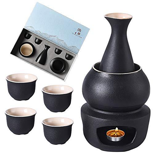 7er Pack Sake-Set, Traditionellen Keramik Japanischen Stil Sake-Servierset, Geschenkverpackung, Beinhaltet aus 1 Sake-Flasche 175 ml, 4 Sakebecher, 1 Heizung Herd aud 1 Warmhalteschale (schwarz)