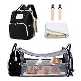 MYWILON Mochila cambiador maternidad 3 en 1 Gran capacidad – Bolsa de Pañales Multifunción impermeable – Bolso de viaje con cama para bebe (Negro)
