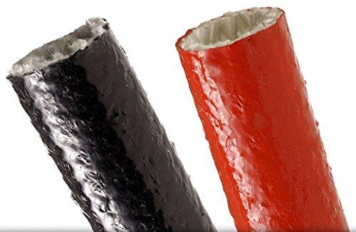 Gaine Isolante en Fibre de Verre et Silicone, Diamètre 73 mm, Couleur Noir, Hautes Températures 260 °C, Rouleau 5 Mètres
