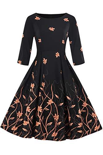MisShow Damen 1950er Jahre Kleid Vintage Kleid Rockabilly Cocktailkleid geblümt Schwarz Knielang S