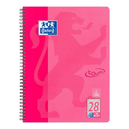 OXFORD 400086496 Collegeblock Touch i format A4 80 ark rutat med dubbel kant rosa skrivblock anteckningsblock brevblock skolblock
