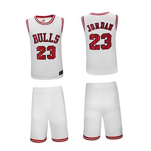 OKMJ Juego de camiseta de baloncesto Jordan, 23 toros, camiseta de baloncesto clsica de verano sin mangas, deporte fitness bordado, transpirable, color negro, blanco y blanco