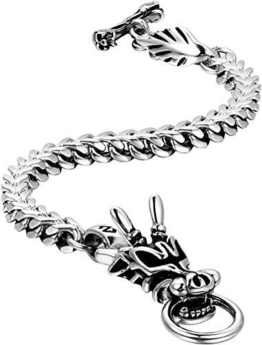 ZPPYMXGZ Co.,ltd Collar de Moda para Hombre de Acero Inoxidable gótico Punk Dragon Head Biker Pulsera Plata 9 4