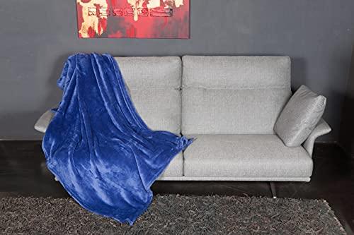 KANGURU Manta Flufi Manta de Microfibra Efecto Piel Azul 130 x 170 cm