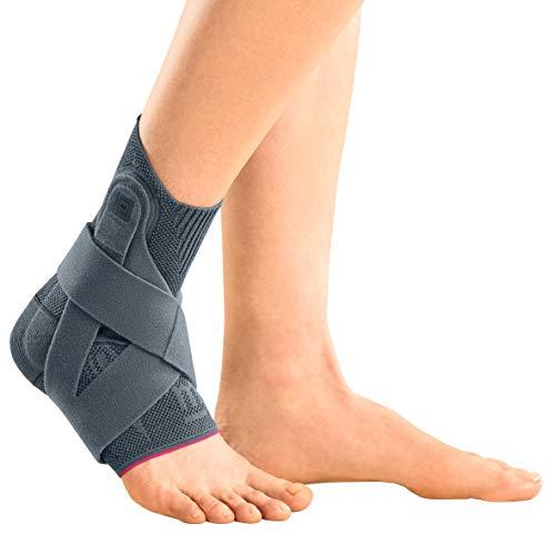 medi Levamed active - Sprunggelenkbandage rechts | silber | Größe II | Fußbandage mit stabilisierendem Gurtsystem