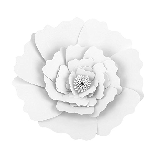 Zerodis Fleur Papier de Soie 40 CM Artisanat Fleurs Deco Murale Salon Chambre Blanc Mariage Decoration Bapteme Anniversaire Pâque Pompons pour Fournitures de Douche de Mariage(Blanc)
