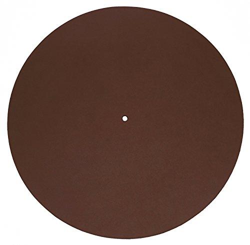 Echtleder Plattenmatte als Plattentellerauflage, braun, glatt, Turntable Slipmat, von FREIRAUM®-Trend