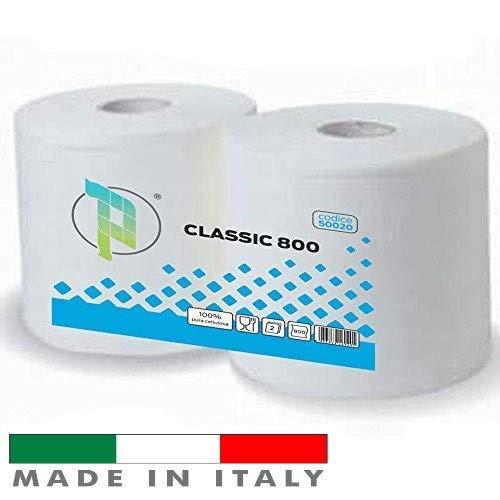 Palucart Bobina carta 800 strappi bobina industriale bobine carta pura cellulosa 2 veli