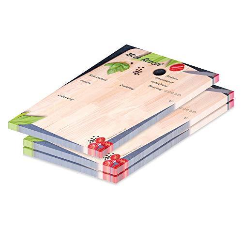 Pricaro - Cuaderno de recetas con diseño «tabla de cortar», A5, 3 unidades