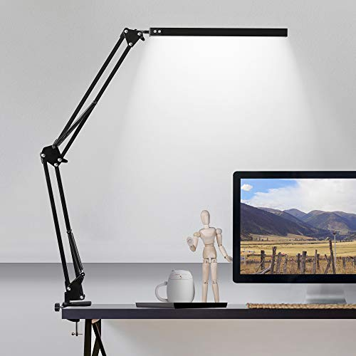 LED Desk Lamp with Clamp, 3 Color Modes Architect Modern Swing Arm Lamp Desk Light, Dimmable Eye-Care Table Light, Memory Function, Task, Study, Reading, Work, Craft, Sewing, Drafting, Home Office 10W
