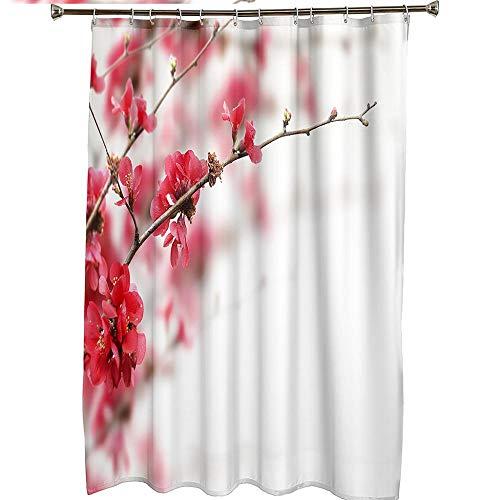 Duschvorhang für Badezimmer Wasserdicht schrittweise Rosenrote Pfirsichblüte Duschvorhang Haken mit Ringen 1 Panel enthalten 59