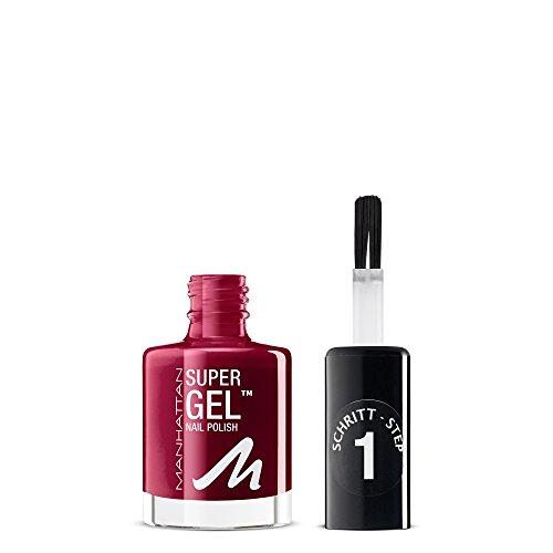 Manhattan Super Gel Nagellack – Gel Maniküre Effekt ganz ohne UV Licht – Dunkelroter Nail Polish mit bis zu 14 Tagen Halt – Farbe Seductive Red 685 – 1 x 12ml